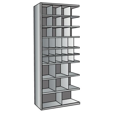 "Hallowell Hi-Tech Metal Bin Shelving Add-on Unit (12) 9"" W x 9"" H, (6) 6"" W x 9"" H, (12) 6"" W x 6"" H, (6) 12"" W x 12"" H, (2) 18"" W x 12"" H Bins"