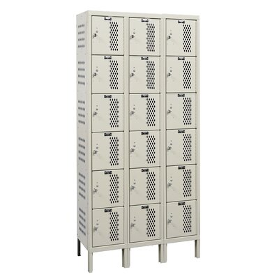 Hallowell Heavy-Duty Ventilated 3-Wide 6-Tier Locker (Assembled)