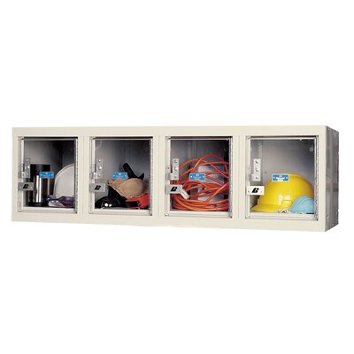 Hallowell Safety-View Plus Locker 4 Wide Wall Mount (Knock-Down) (Quick Ship)