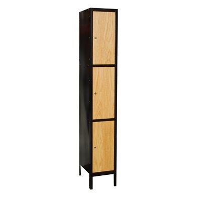 Hallowell Metal-Wood Hybrid Locker Triple Tier 1 Wide (Assembled)