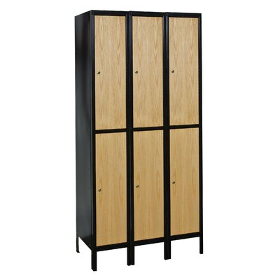 Hallowell Metal-Wood Hybrid Locker Double Tier 3 Wide (Assembled)