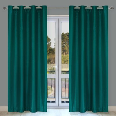 LJ Home Silkana Faux-Silk Grommet Window Panel Set