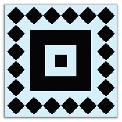 "Oscar & Izzy Folksy Love 6"" x 6"" Satin Decorative Tile in Checkers Black-Light Blue"