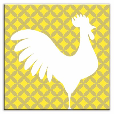 "Oscar & Izzy Folksy Love 6"" x 6"" Satin Decorative Tile in Doodle-Do Yellow Right"