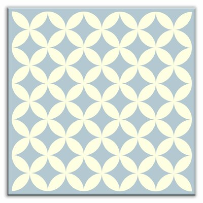 "Oscar & Izzy Folksy Love 6"" x 6"" Satin Decorative Tile in Needle Point Blue Gray"
