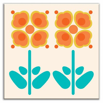 "Oscar & Izzy Folksy Love 4-1/4"" x 4-1/4"" Satin Decorative Tile in Pressed Flowers Orange"