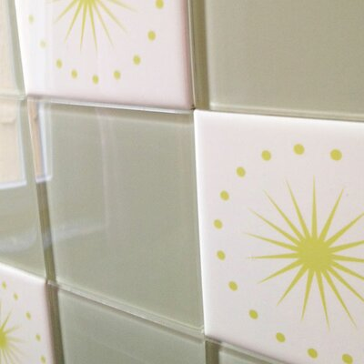 "Oscar & Izzy Folksy Love 6"" x 6"" Satin Decorative Tile in June Light Yellow Green"
