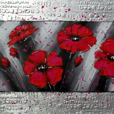 Casabianca Furniture Red Flowers Framed Art