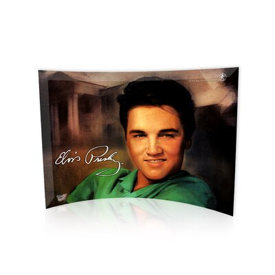 Elvis Presley (Elvis and His Mansion) Curved Glass Print