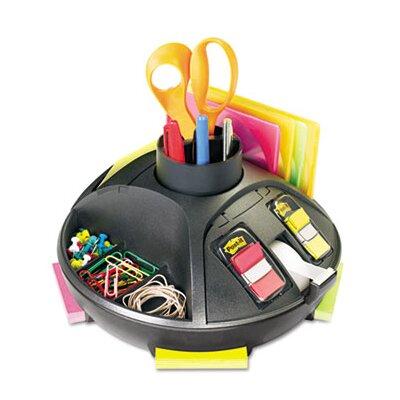 3M Rotary Self-Stick Notes Dispenser, Plastic, Rotary, 9 1/2 dia x 5 1/2h, Black