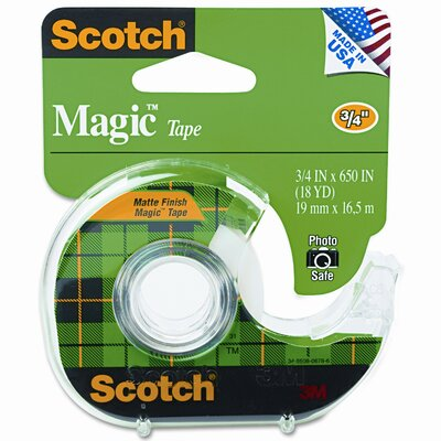"3M Magic Office Tape with Refillable Dispenser, 3/4"" x 18 Yards, Clear"