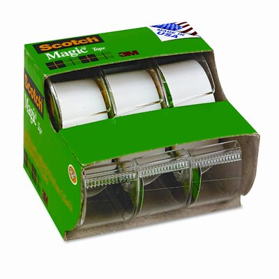 "3M Magic Office Tape, Refillable Dispenser, 3/4"" x 8 yards, Three per Box"