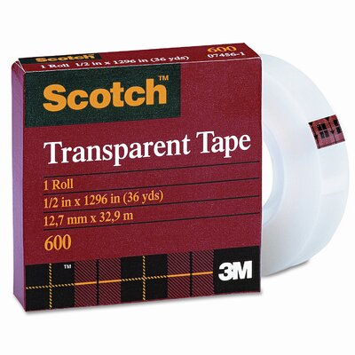 "3M Transparent Glossy Tape, 1/2"" x 36 Yards, 1"" Core, Clear"