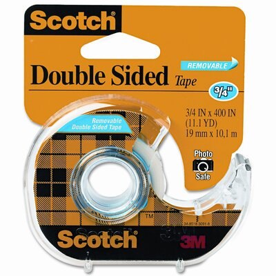"3M 667 Double-Sided Removable Office Tape & Dispenser, 3/4"" x 11 Yards"