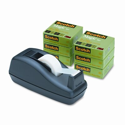 3M C40 Desk Tape Dispenser and Six Rolls Scotch Magic Tape, 1&quot; core, Black                                                      