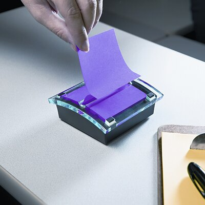 3M Designer Series Clear-Top Pop-Up Note Dispenser for 3x3 Self-Stick Notes, BLK