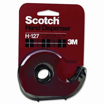 "3M H127 Refillable Handheld Tape Dispenser, 1"" core, Plastic/Metal, Smoke"