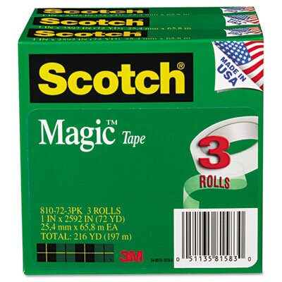 "3M Magic Tape, 1 x2592, 3"" Core, 3 Rls"