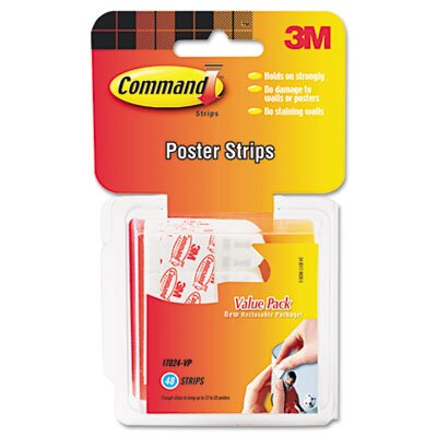 3M Command Poster Adhesive Strip Value Pack, White, 48 Strips per Pack