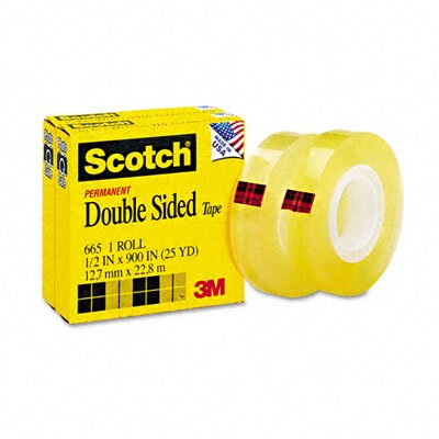 "3M 665 Double-Sided Office Tape, 1/2"" x 25 Yards, 1"" Core, Clear, Two/Box"