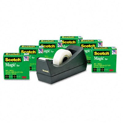 "3M Magic Tape Value Pack with Dispenser, 3/4"" x 28 Yards, 1"" Core, Six/Pack"