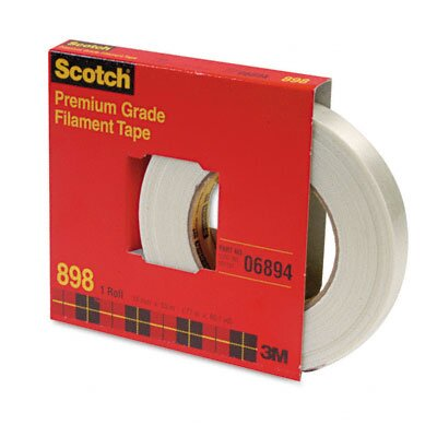 "3M 898 Premium Grade Filament Tape, 3/4"" x 60 Yards, 3"" Core, Clear"