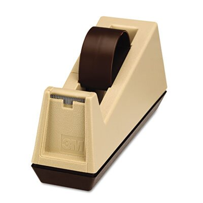 "3M Heavy Duty Weighted Desktop Tape Dispenser, 3"" core, Plastic, Putty/Brown"