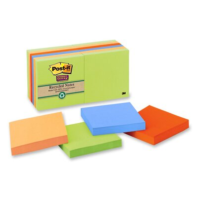 "3M Super Sticky Pads,90 Sheets/PK,3""x3"",6/PK,Natures Hues"