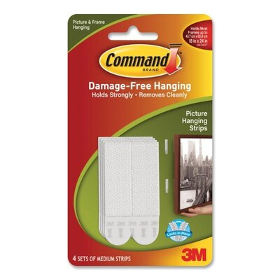 3M Picture Hanging Strips w/Adhesive, Medium, 4/PK, White