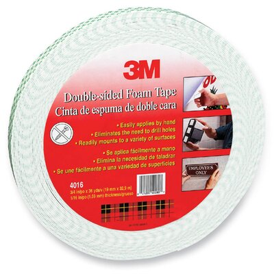"3M Foam Tape, Double-Coated, 1/16"" Thick, 3/4""x36 Yards, White"