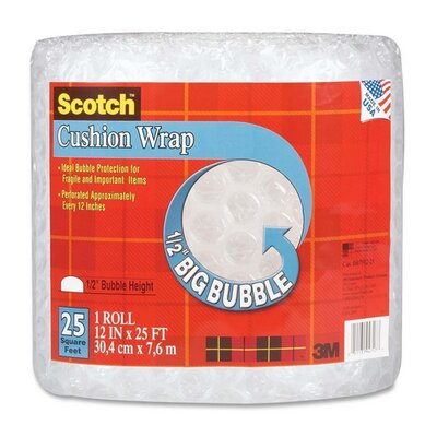 "3M Cushion Wrap, 12""x25', 1/2"" Bubble, Clear"