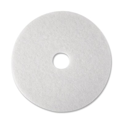 "3M Super Polish Floor Pad, 12"", White, 5 Pads/Carton"
