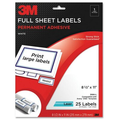 "3M Full Sheet Labels, Laser Paper, 8-1/2""x11"",25 per Pack,White"