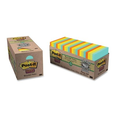 "3M Super Sticky Notes, 70 Sh/Pads, 3""x3"", 24 Padsper Pack, Assorted"