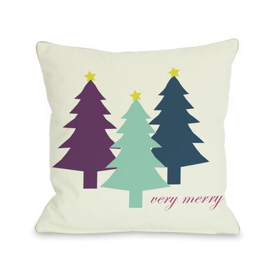 OneBellaCasa.com Holiday Very Merry Christmas Trees Reversible Pillow