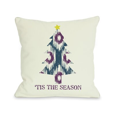 OneBellaCasa.com Holiday Tis The Season Ikat Tree Reversible Pillow