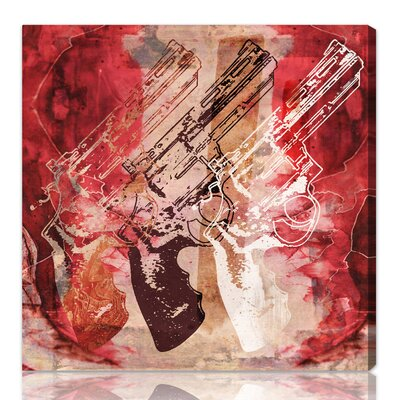 One Bella Casa ''Guns and Roses'' Graphic Art on Canvas