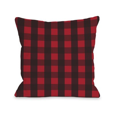 OneBellaCasa.com Plaid Reindeer Reversible Pillow