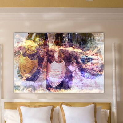 """One Bella Casa """"Champagne Bath"""" Graphic Art on Canvas"""