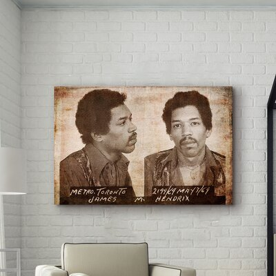 One Bella Casa ''Jimmy Hendrix Mugshot'' Graphic Art on Canvas