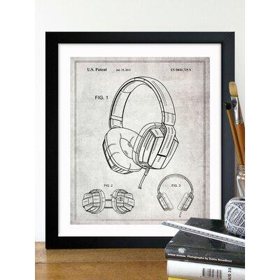One Bella Casa Headphones 2010 Gray Framed Graphic Art