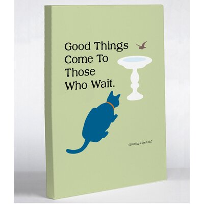OneBellaCasa.com Good Things Cat Canvas Wall Decor