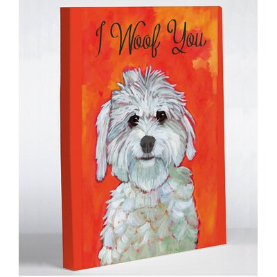 One Bella Casa Doggy Decor I Woof You Graphic Art on Canvas