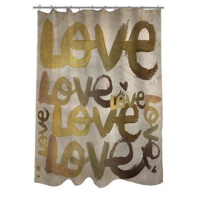 OneBellaCasa.com Oliver Gal Four Letter Word Polyester Shower Curtain