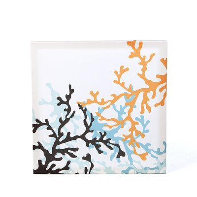 Coral Stretched Wall Art in Aqua
