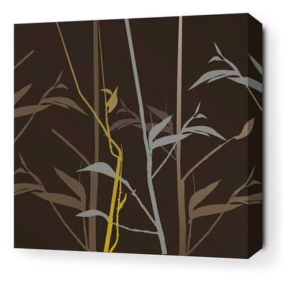 Morning Glory Tall Grass Stretched Graphic Art on Canvas in Charcoal and Olive