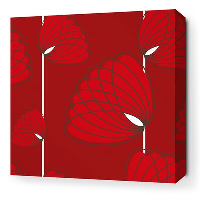 Inhabit Aequorea Lotus Graphic Art on Canvas in Scarlet