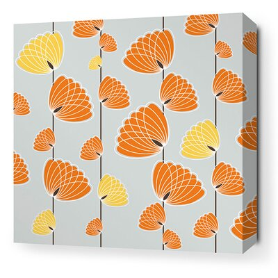 Aequorea Floating Lotus Graphic Art on Canvas in Silver and Sunshine