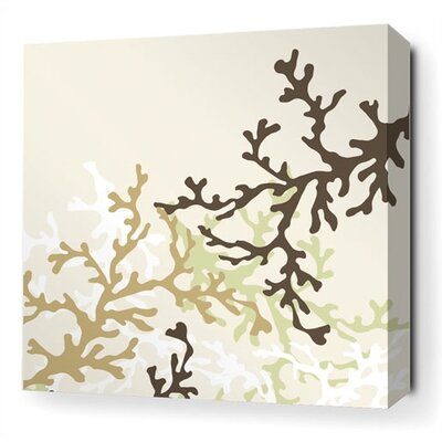 Inhabit Coral Stretched Wall Art in Moss