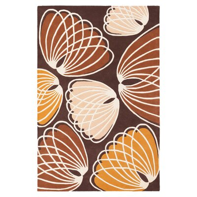 Inhabit Lotus Rug in Chocolate/ Persimmon